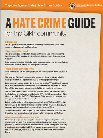 Network of Sikh Organisations: A Hate Crime Guide for the Sikh Community
