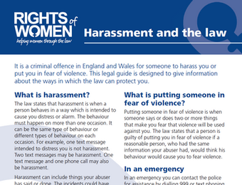 Harassment and the Law: A new guide from Rights of Women