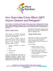 Micro Rainbow: Hate Crime and LGBTI Asyum Seekers & Refugees