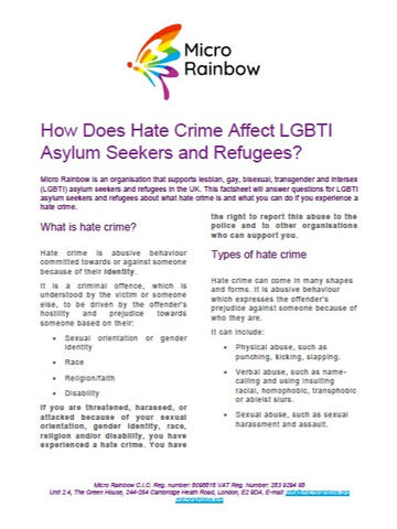 Micro Rainbow: Hate Crime and LGBTI Asyum Seekers & Refugees