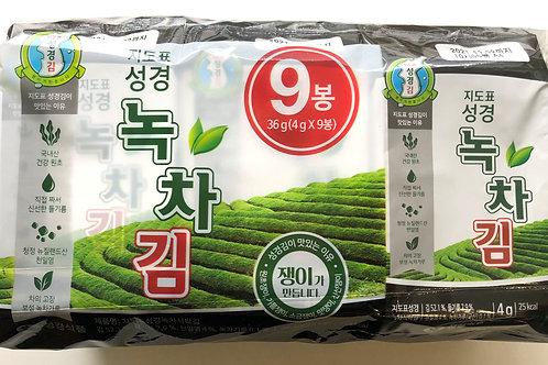 지도표 성경 녹차 식탁김 9봉 36g, Guim algas Chá verde temperadas  9 x 4g