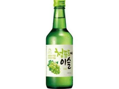 진로 소주 청포도에 이슬 13% 360ml, Jinro soju uva verde