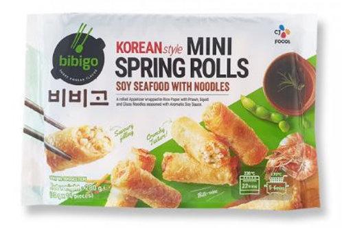 해물잡채 미니스프링롤 280g, Mini rolinhos primavera estilo coreano, frutos do mar de soja