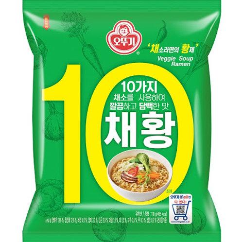 오뚜기 채황라면 110g, 10 tipos de ramen vegetal