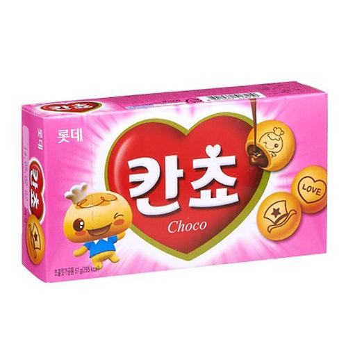 롯데 칸쵸 54g,  KANCHO biscoito de chocolate 54g