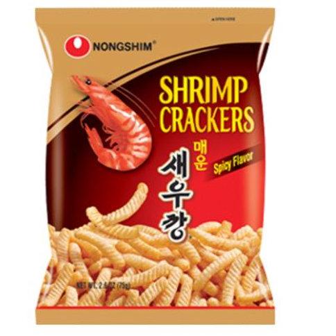 농심 매운 새우깡 75g, Biscoitos de sabor de camarão, picante 75g
