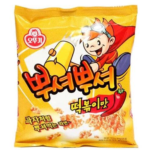 오뚜기 뿌셔뿌셔 떡볶이 90g, Snack PuchóPuchó sabor Tteokbokki