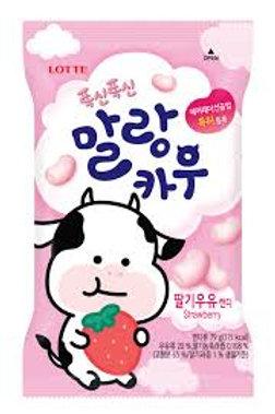 롯데제과 폭신폭신 말랑카우(딸기) 79G doce leite MALANCAU morango 79g