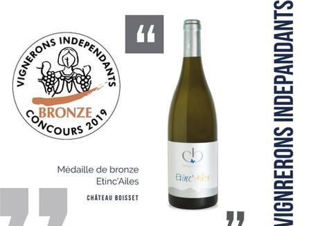 Médaille de bronze aux Vignerons Indépendants pour Etinc'Ailes