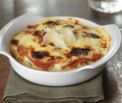 Etinc'Ailes : Gratin de chou-fleur au parmesan et jambon cru