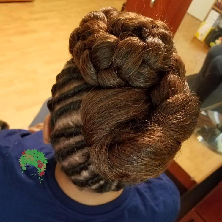 Flat twist w/braided bun