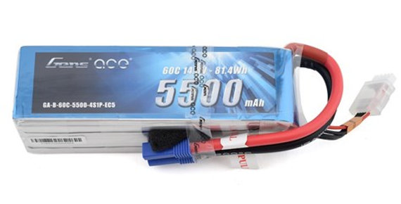Gens Ace 4S 60C LiPo Battery Pack w/EC5 Connector (14.8V/5500mAh)