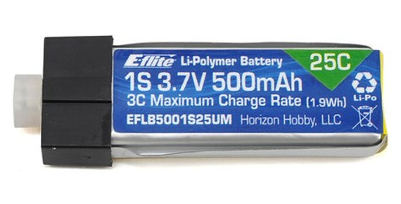 E-flite 1S 25C High Current LiPo Battery Pack w/UMX Connector (3.7V/500mAh)