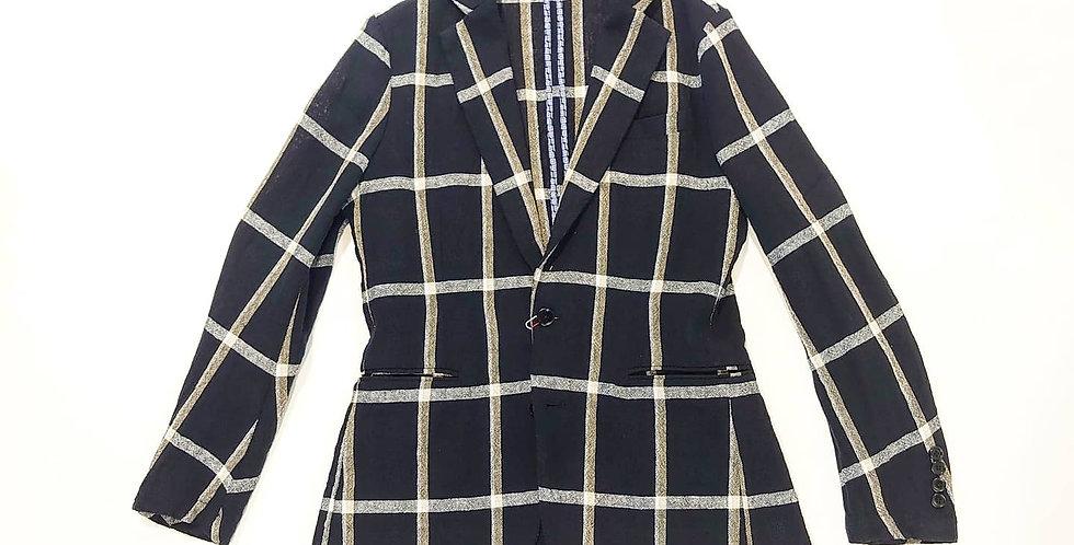 ARBRE   linen over check easy jacket