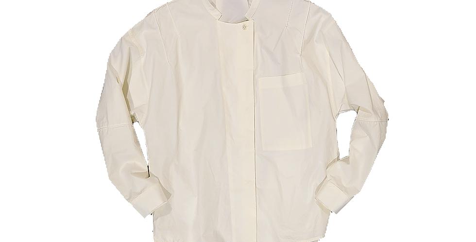 TELA  ピンタックホワイトシャツ ノーカラー