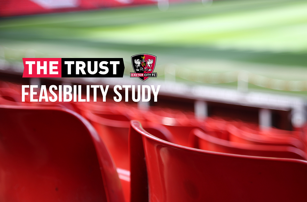 Blurred out red seats inside a football ground, with the Trust and club logos and the words feasibility study superimposed.