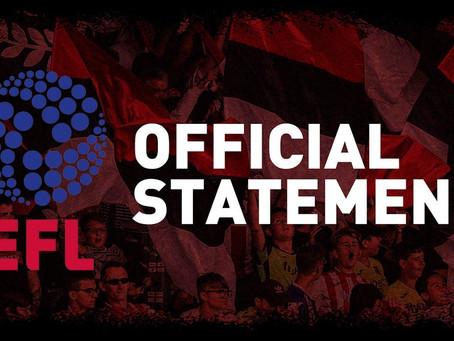 EFL STATEMENT: UPDATE FROM EFL CHAIR