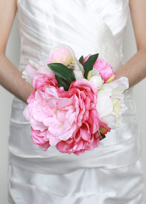 Silk peony wedding bouquet in pink cream 7 bouquet head x 115 tall beautiful silk peony wedding bouquet features pink and cream peonies peonies have a great fluffy texture and a feminine mixture of pinks mightylinksfo