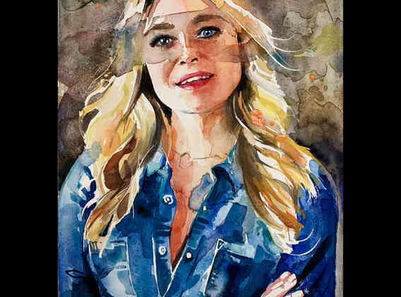 Watercolour of Kate Bryan from Sky Portraits