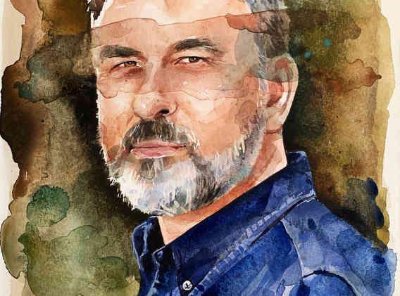Watercolour of David Walliams