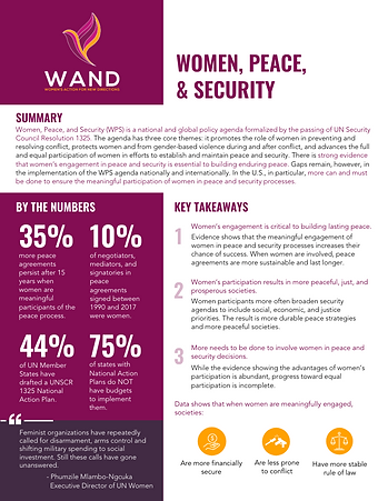 Women, Peace, and Security Factsheet