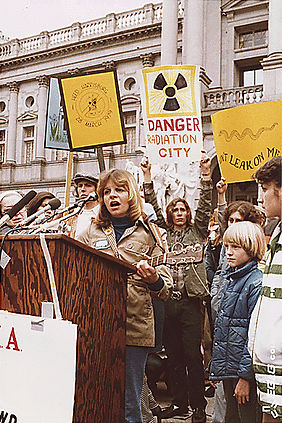 Anti-nuclear rally outside the Pennsylvania State Capitol in Harrisburg, Pennsylvania, 1979