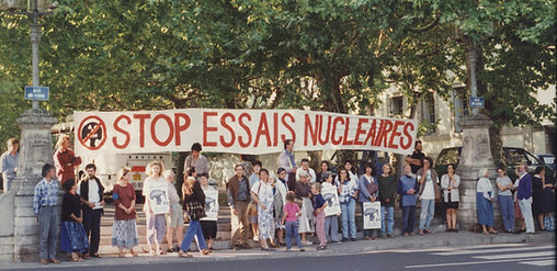 Demonstration against nuclear tests in Lyon, France, 1980s