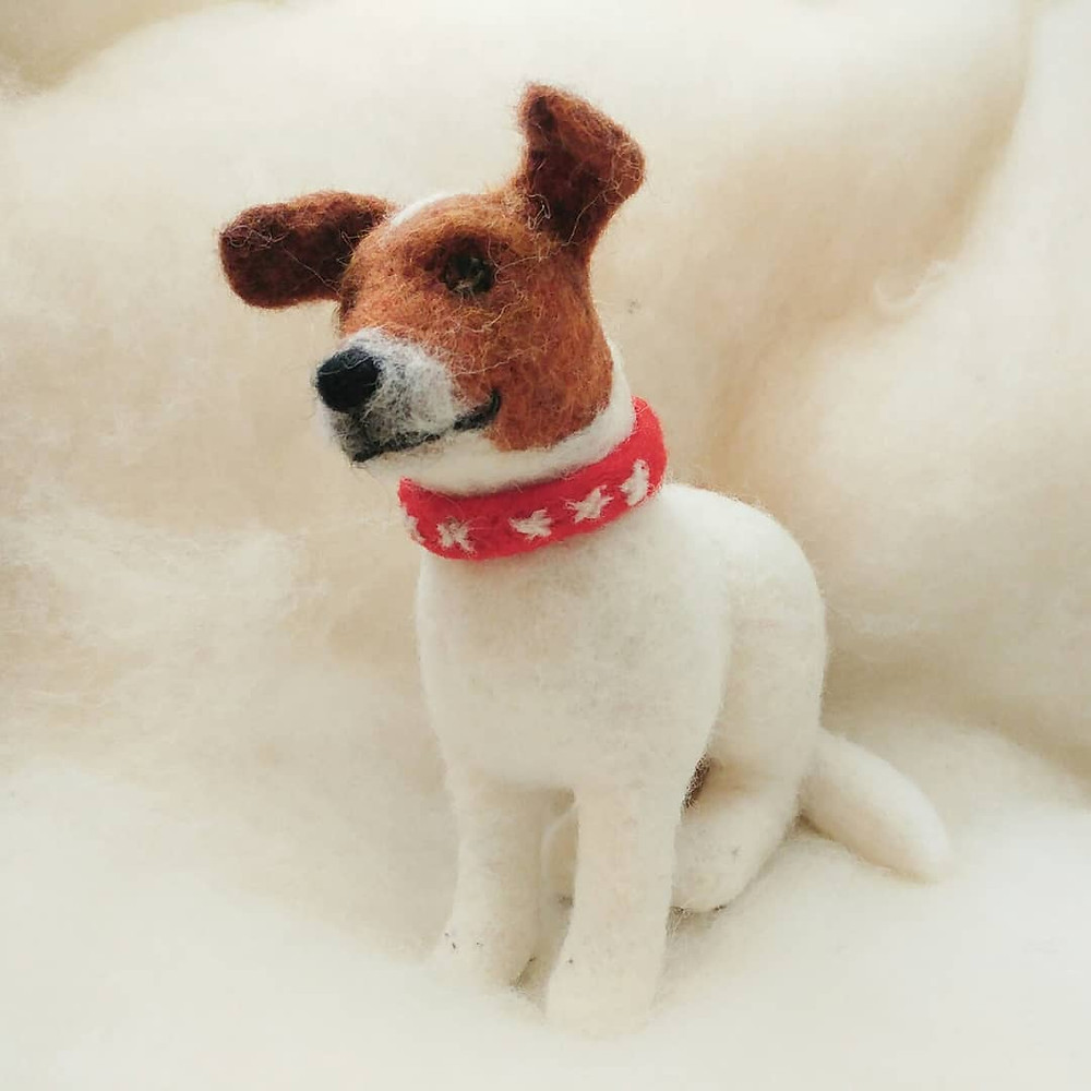 Needle felt felted dog portrait 3d jack russell
