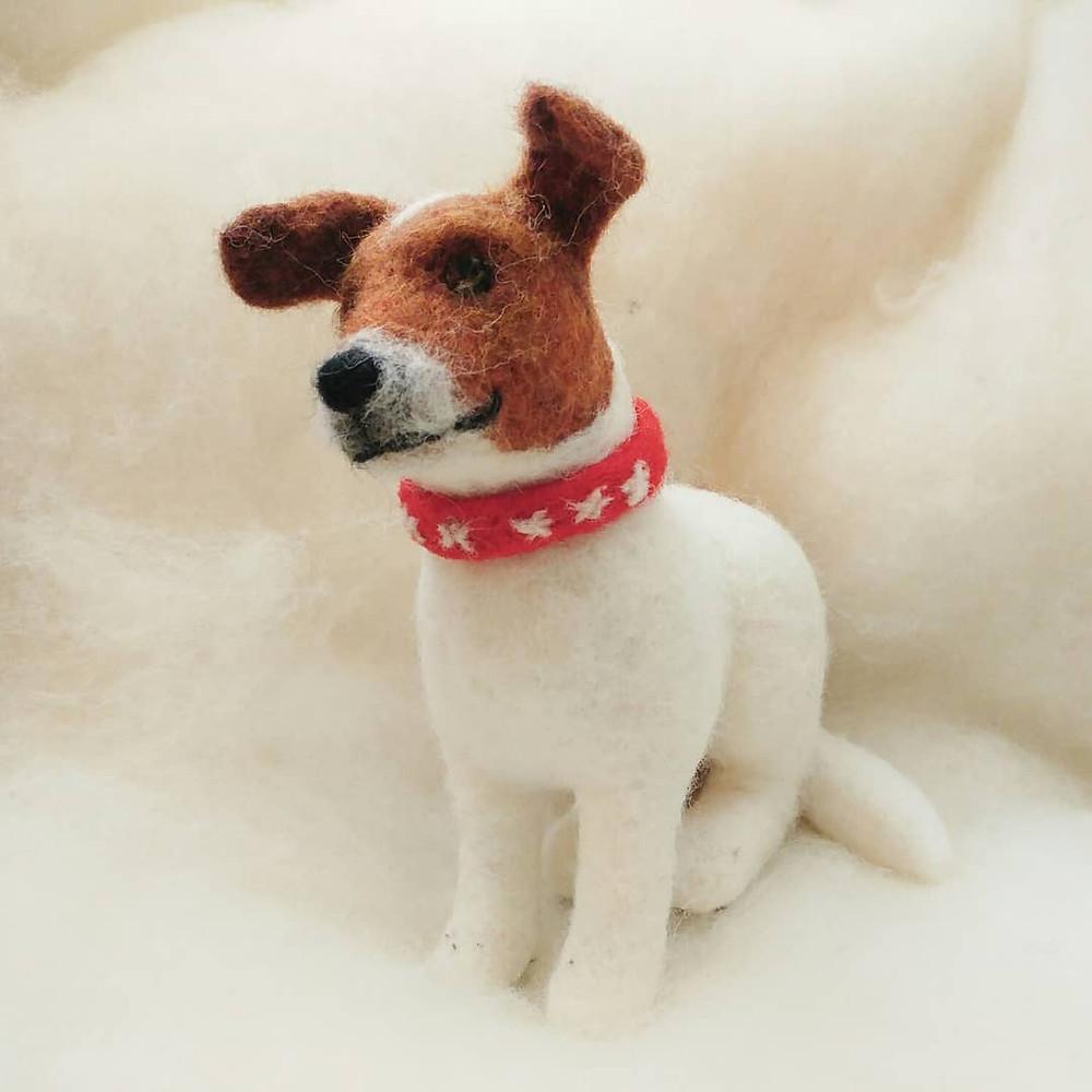Needle felt felted dog portrait 3d jack russell