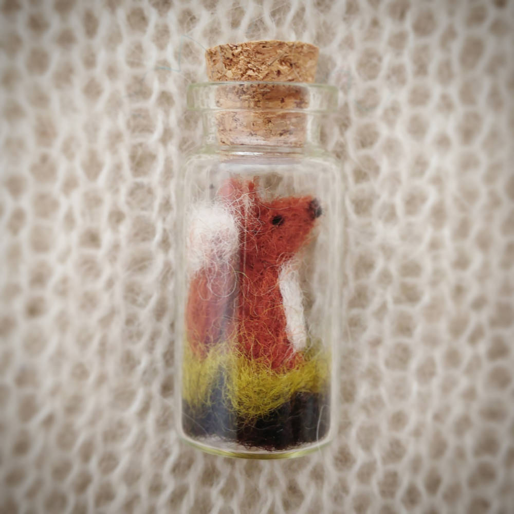 Tiny Fox in Glass Bottle
