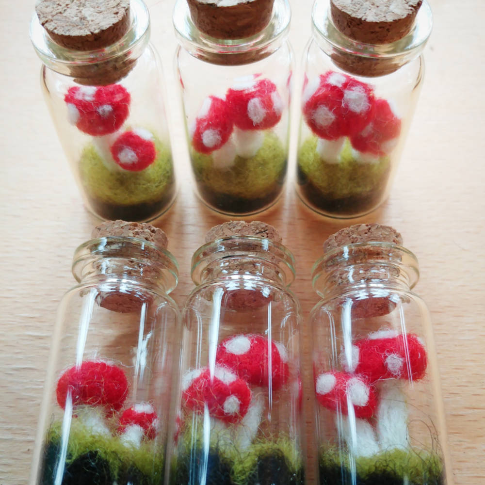 Felt Toadstools in Glass Bottles