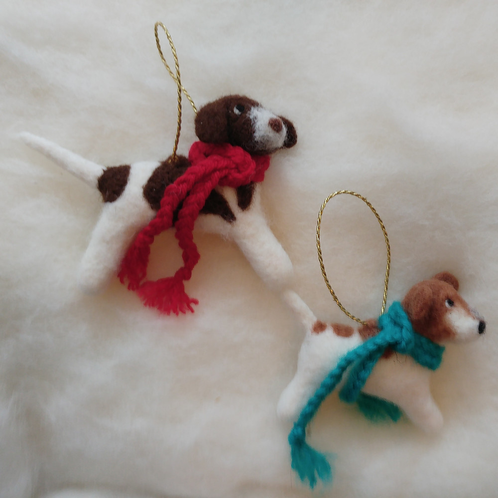 3d needle felt dog christmas decorations