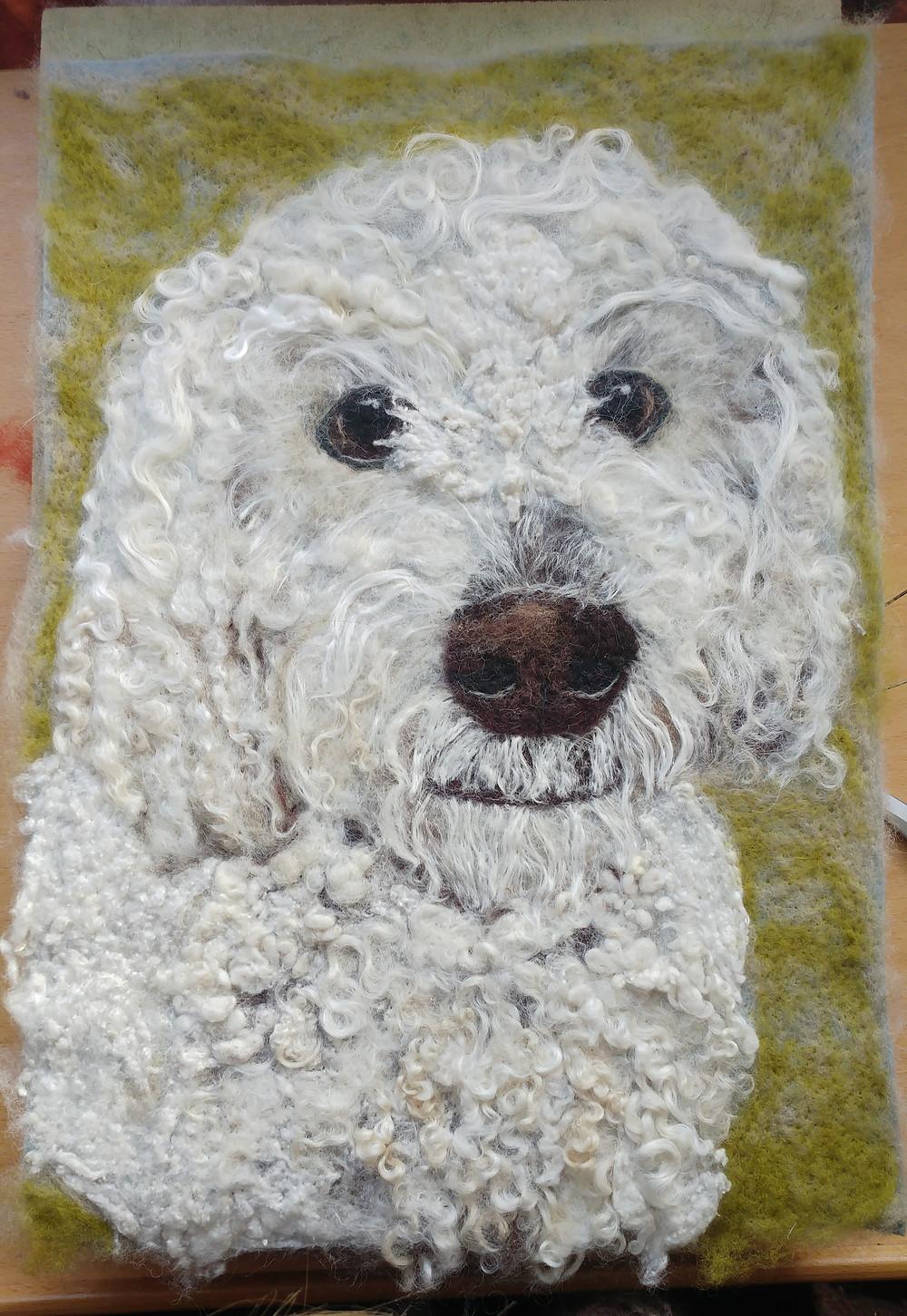 2d felt dog portrait