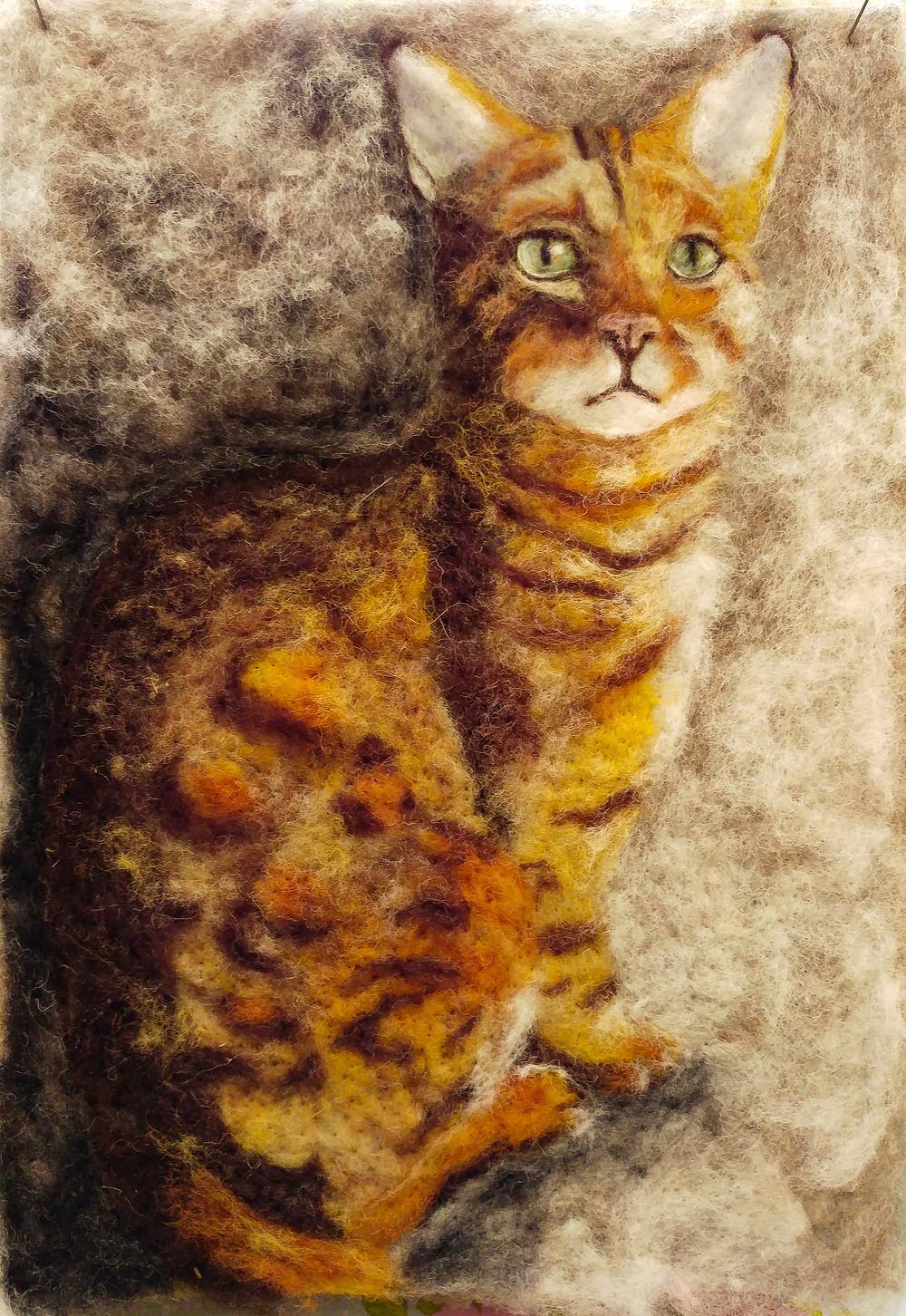 2d Needle felt cat portrait felted