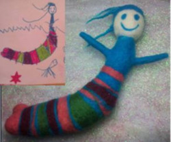 Drawing and wool sculpture