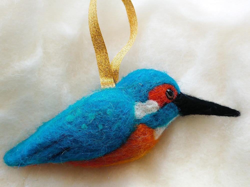 hanging needle felt kingfisher ornament