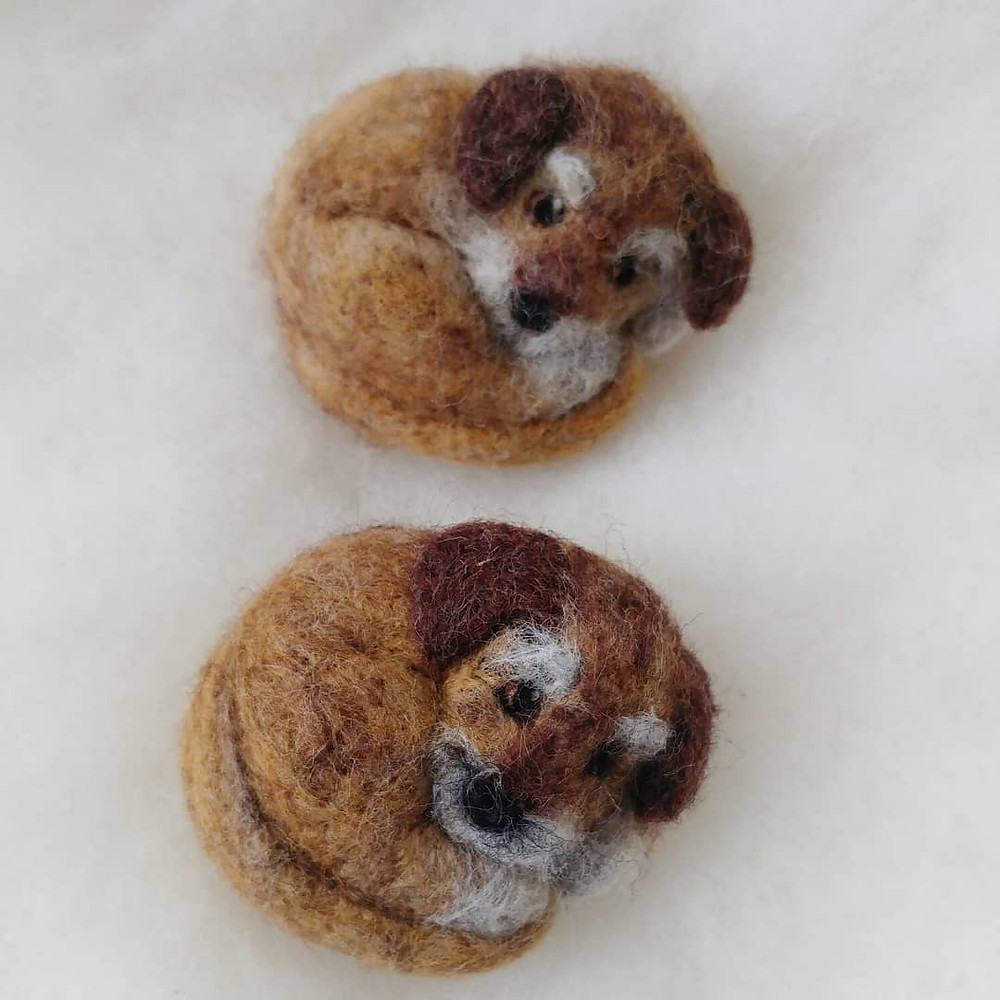 needle felt felted dog portrait