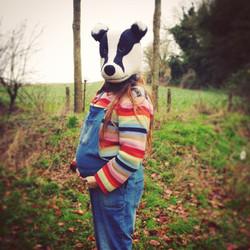 needle felt felted badger mask wool