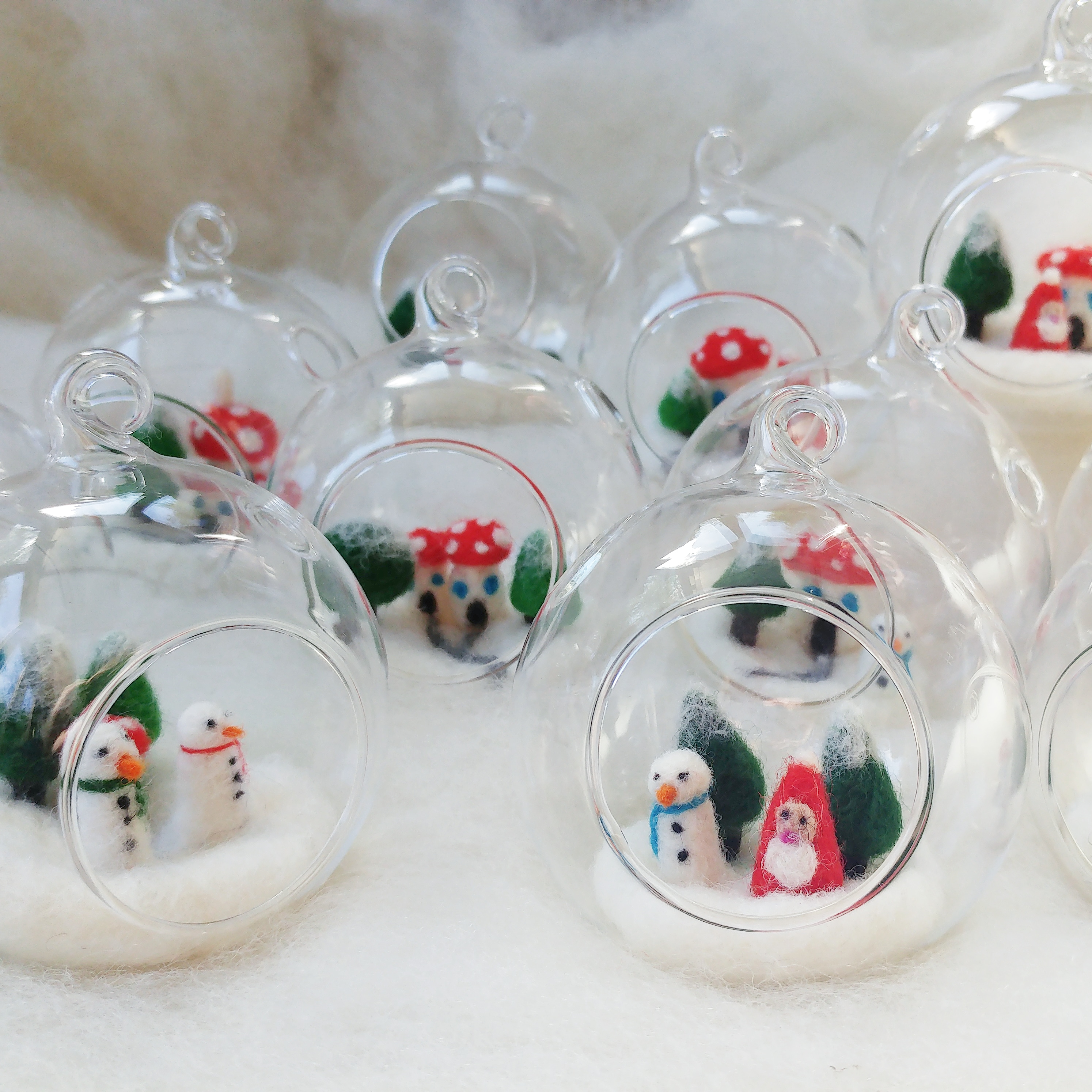 Felt Toadstool House Christmas Scene