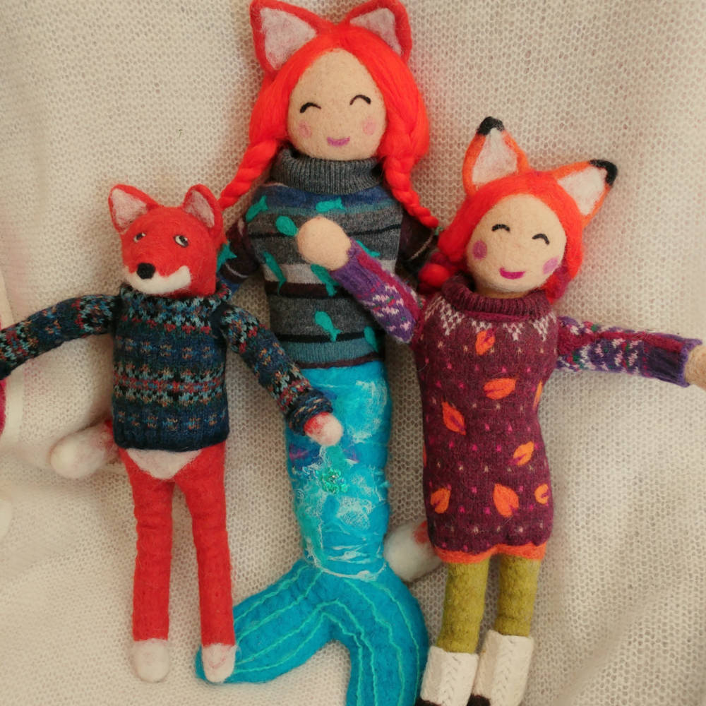 Needle felt fox,mermaid & fox girl