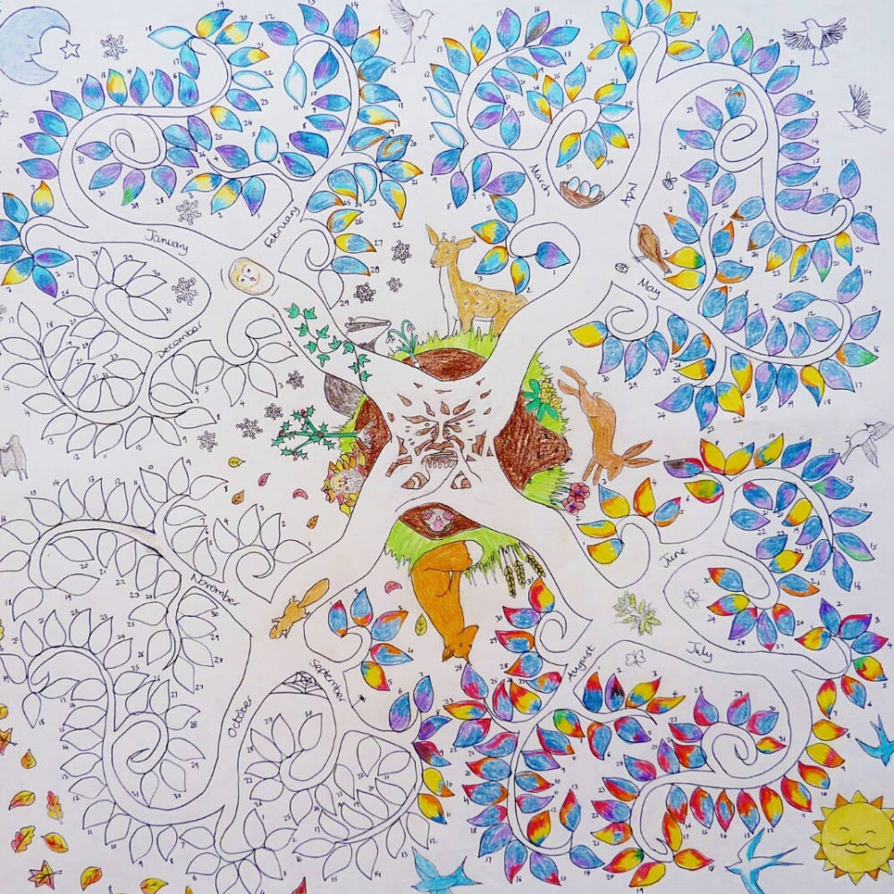colour in weather tree calendar poster