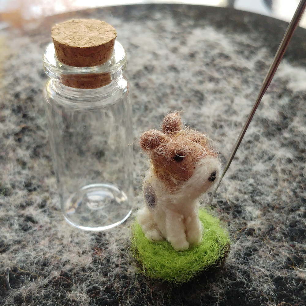 needle felted felt dog portrait in glass bottle