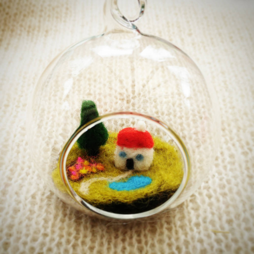 Mini felt cottage in glass bauble