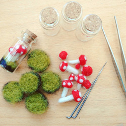 Felt Toadstools being made