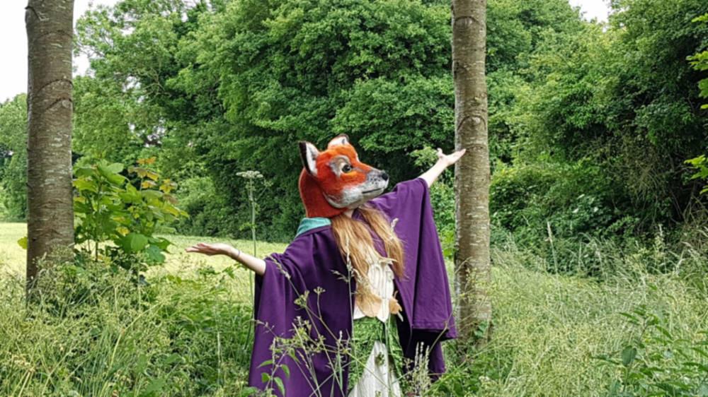 needle felt fox head mask in wool