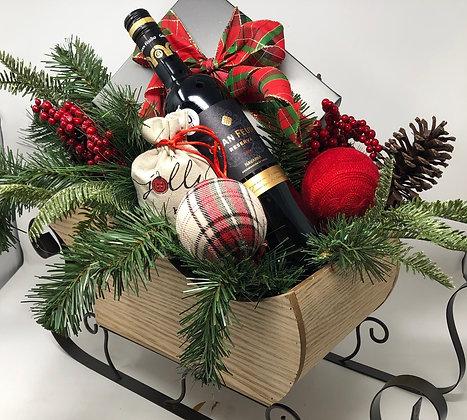 Wine & Chocolate Sleigh Basket