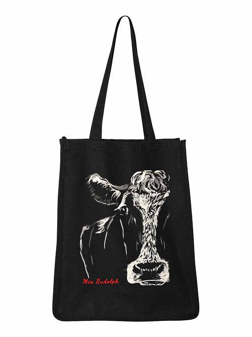 Black White Cow Bag - art by Mia Rudolph D1-012