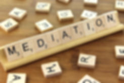 Image of Scrabble board saying, Mediation
