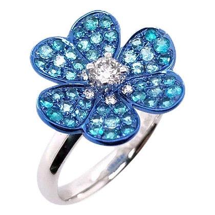 Paraiba Diamond Clover Ring in 18 Karat White Gold