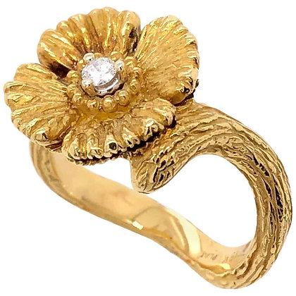 Artisan Diamond Flower Ring in 18K Yellow Gold